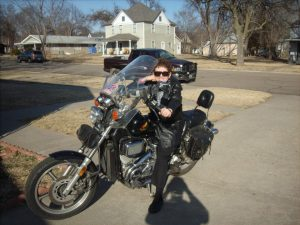 mom on a motorcyle